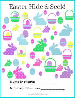 Easter Hid and Seek activity - a set of 8 FREE downloadable printables for kids #easter #spring #activities