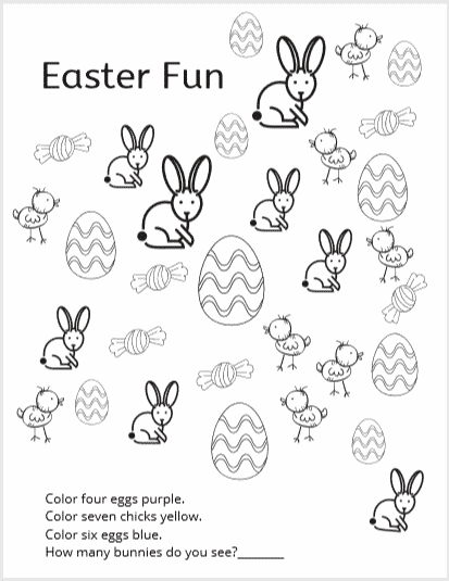 Following Directions Look and Find -  8 coloring and activity pages for kids  #easter #activitypages #free