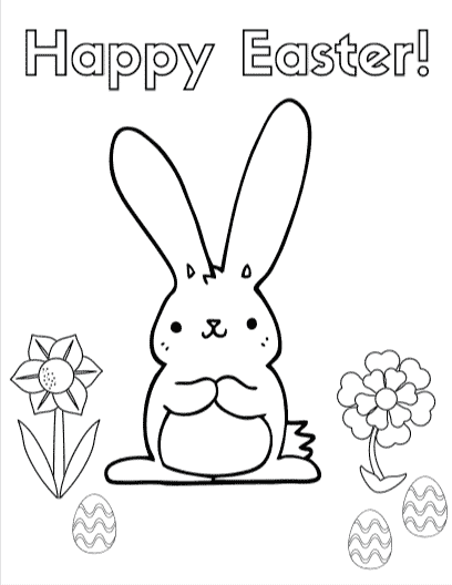 Happy Easter Coloring Sheet - Discover 8 fun Spring and Easter themed coloring and activity sheets #easter #coloring #free