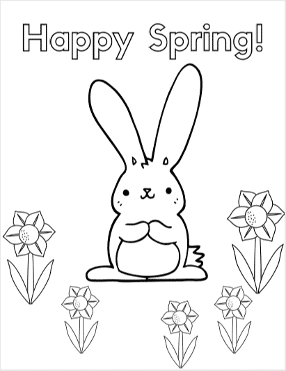 Happy Spring Coloring Page - a collection of 8 free coloring sheets that are Spring and Easter themed for kids  #easter #spring #printable #free