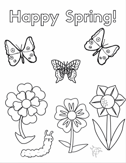 Free downloadable Spring coloring page - 8 Spring and Easter themed coloring sheets and Look & Finds #easter #spring #freecoloringpages