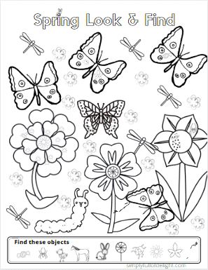Spring Look and Find - a collection of 8 Easter and spring themed coloring and activity pages