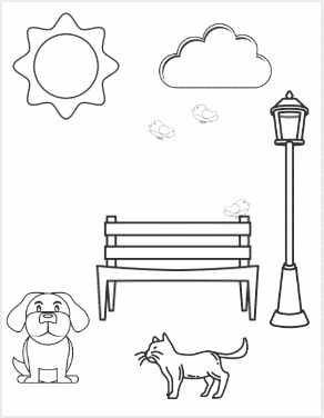 A Day at the Park Coloring Page