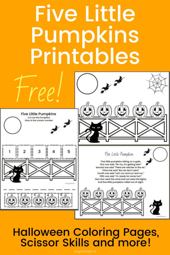 5 Little Pumpkin Printables - free printable coloring page, scissor skills page, and preschool activities for the 5 Little Pumpkins, Halloween activities