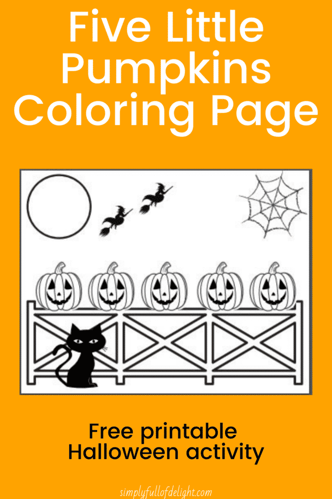 5 Little Pumpkins Coloring Page - Free printable Halloween activity, preschool Halloween activity
