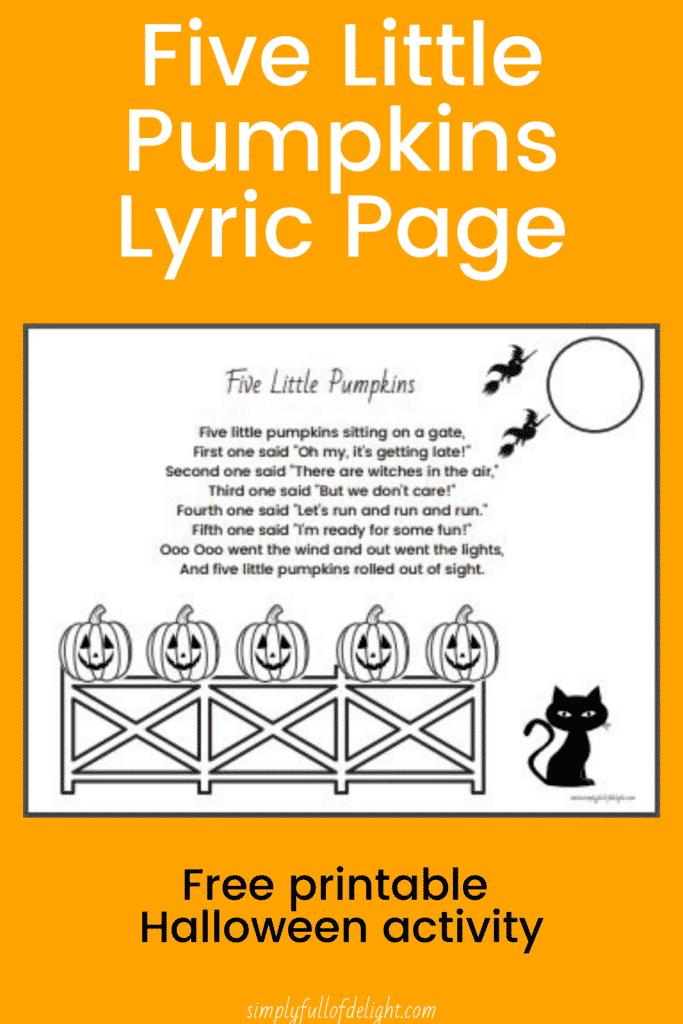 Five Little Pumpkins Lyrics printable, free printable Halloween activity