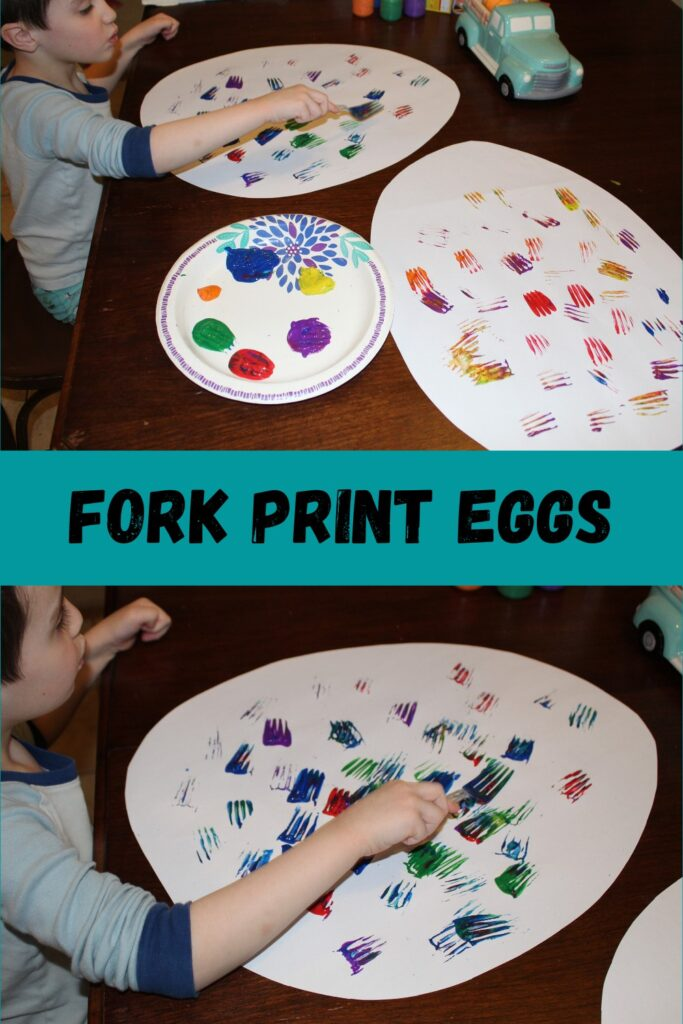 Fork Print Eggs  - Easter craft ideas