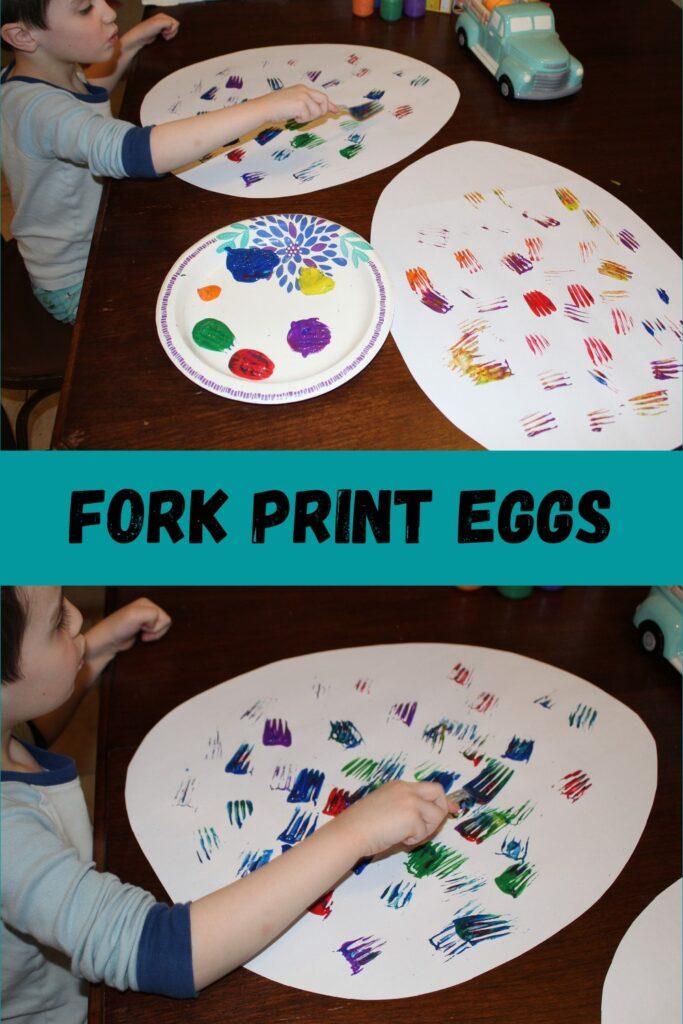 Fork Print Eggs  - Easter craft ideas