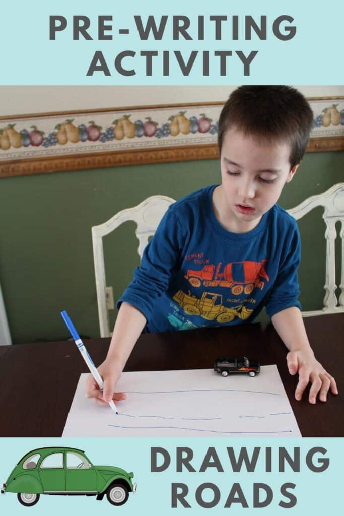 Pre-Writing Activity - Drawing Roads - Find fun ways to get your reluctant preschooler excited about writing!  Also FREE PRINTABLES  #prewritingskills #preschool #kindergartenready #learntowrite