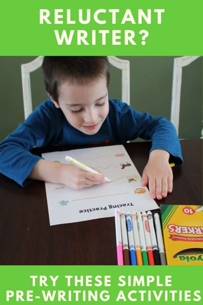 Reluctant Writer?  Try these simple pre-writing activities.  FREE PRINTABLE pre-writing pages  #freeprintables #preschool #prek #teachingwriting