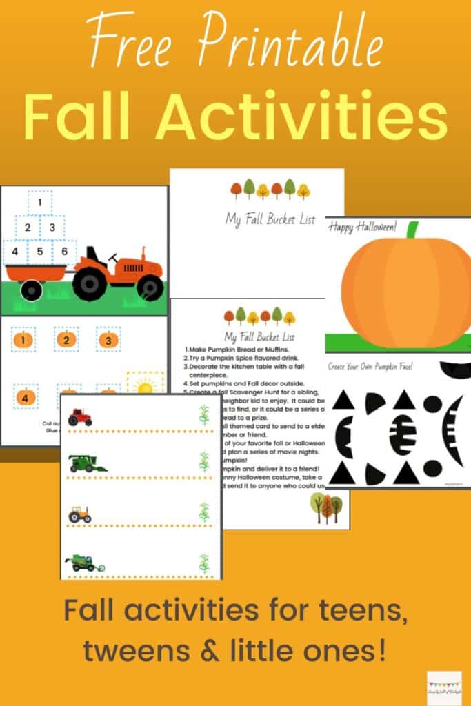 Free Printable Fall Activities for Families,  fall activities for teens, tweens, and preschool age.