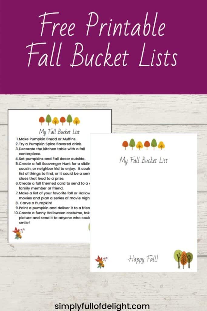 Printable Fall Bucket List, fall fun activities