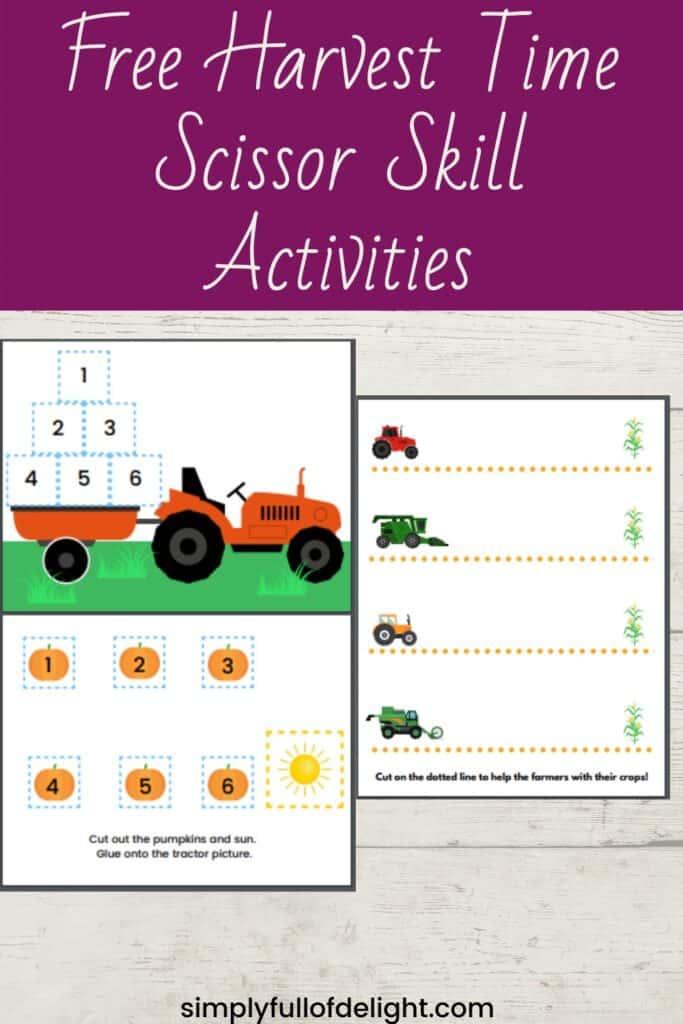 Free Harvest Time Scissor Skill activities  #preschool #cutting #scissorskills