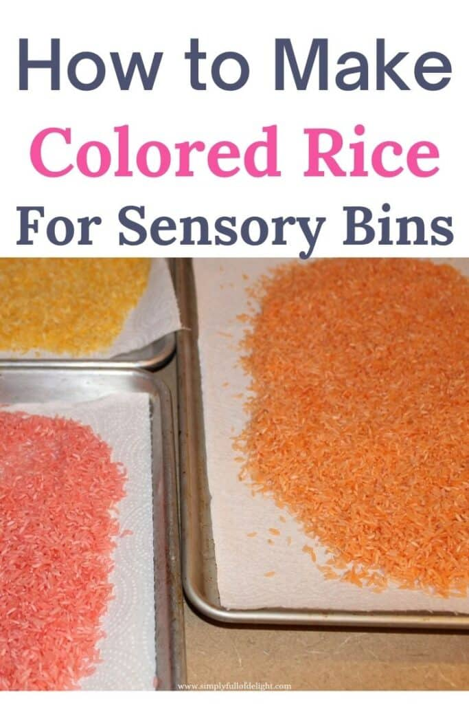 Step by step instructions for creating Colored rice for sensory bins.