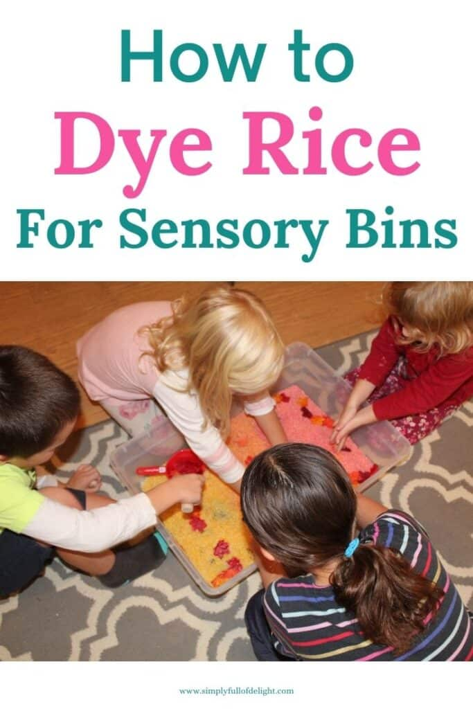 How to make colored Rice for Sensory Play - Sensory Bin Fun!