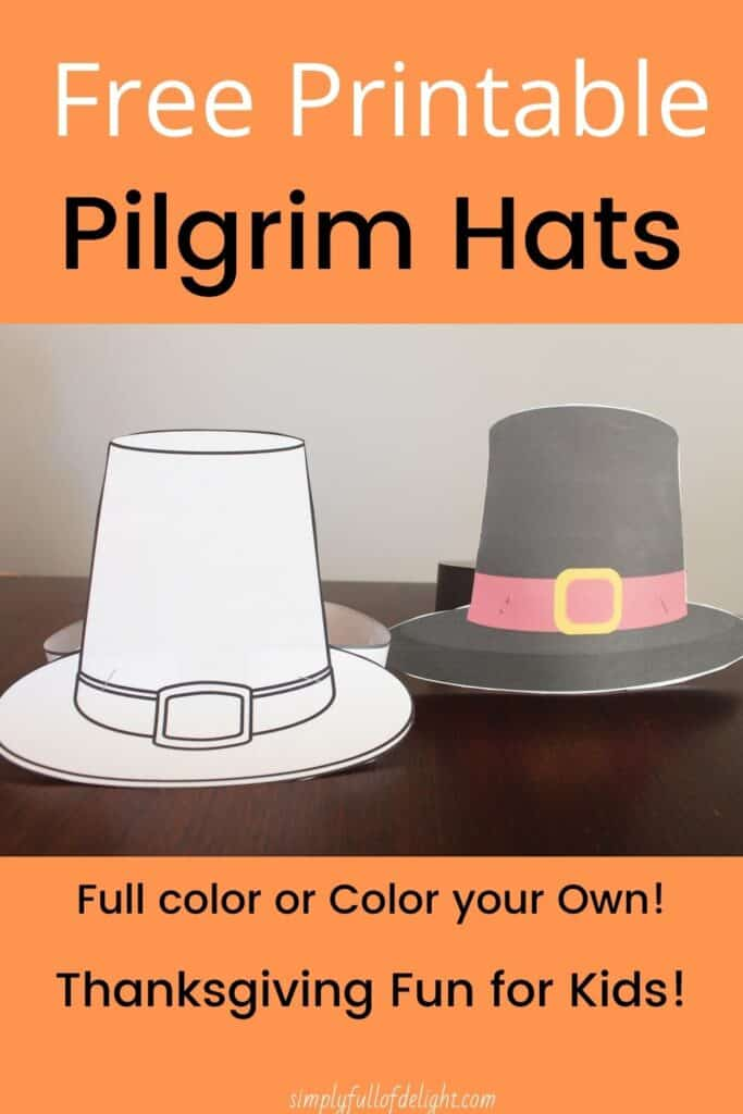 Free Printable Pilgrim Hats - Print our full color, or Color your own!  Great Thanksgiving fun for kids!  #preschool #thanksgiving