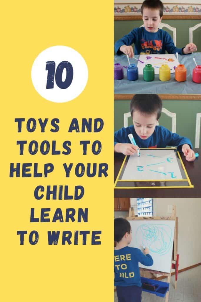 10 Toys and Tools to Help Your Child Learn to Write - Make learning fun!  #prewritingskills #writingactivities #kindergartenready #preschool