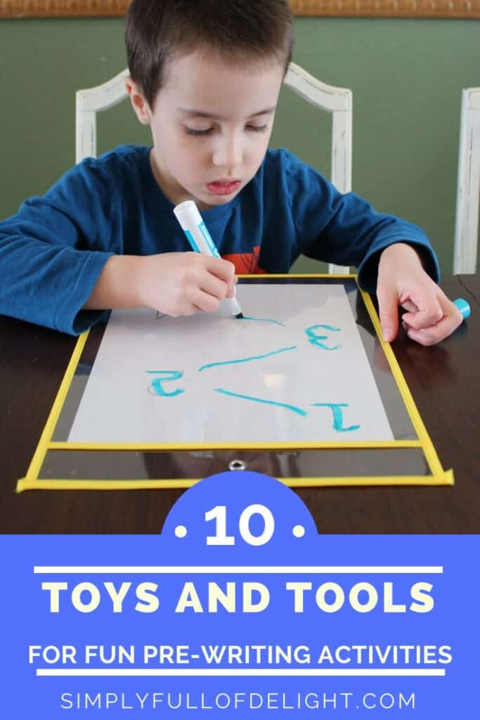 10 Toys and Tools for Fun Pre-Writing Activities - Looking for something to motivate your reluctant preschooler?  Try these fun ideas to help them learn to write their name!  #writing #preschool #prek #pre-writing