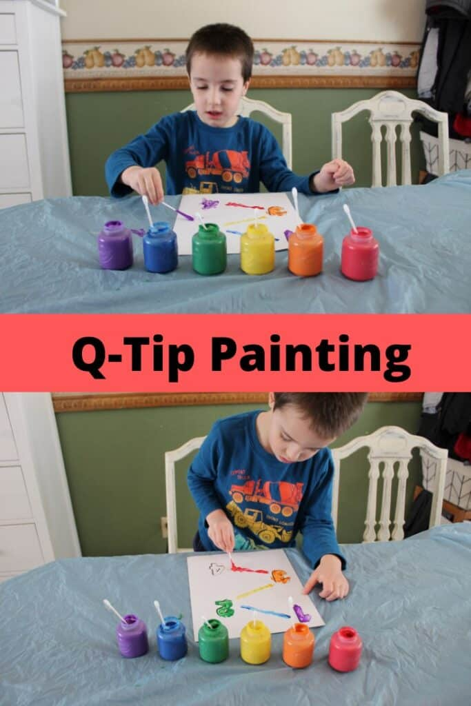 Q-Tip Painting - Develop your child's pre-writing skills and fine motor skills #learntowrite #pre-writing #teachingyourchild