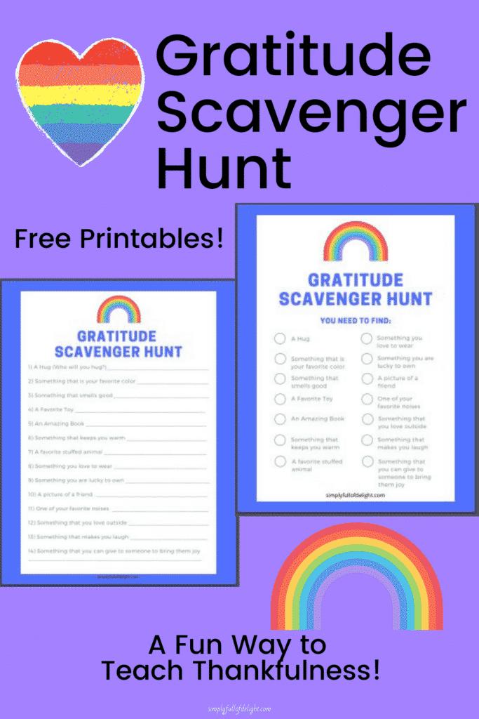Gratitude Scavenger Hunt - A Fun way to teach thankfulness!