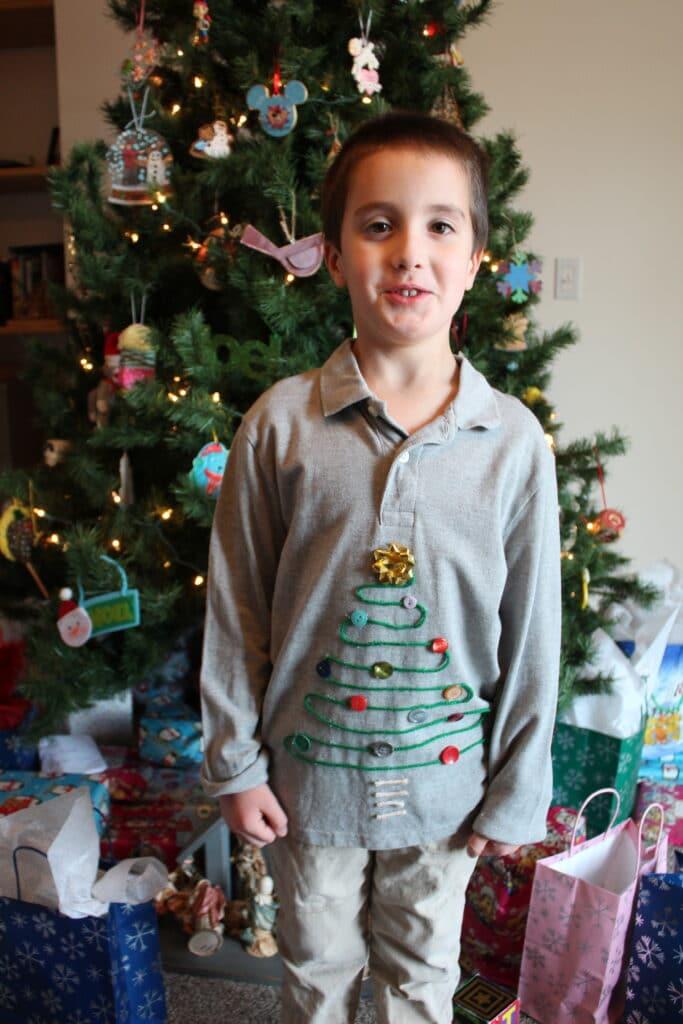 No-sew Ugly Christmas Tree Shirt for kids