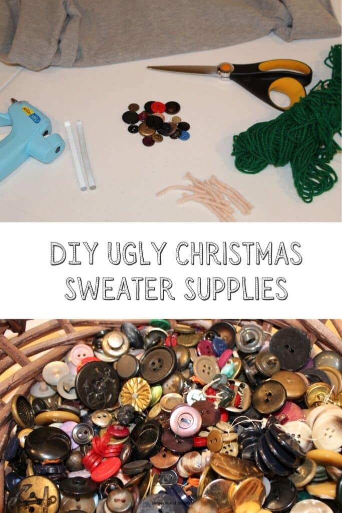 DIY Ugly Christmas Sweater Supplies - glue gun, buttons, yarn, scissors
