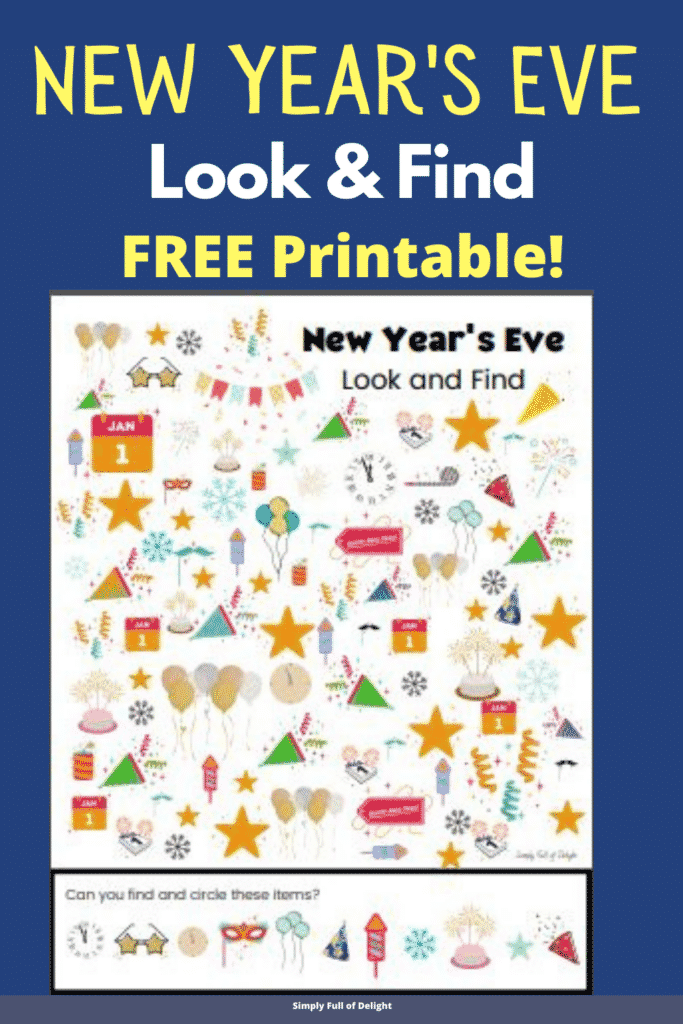 Free!  New Year's Eve Look and FInd Printable - New Years eve I Spy printable