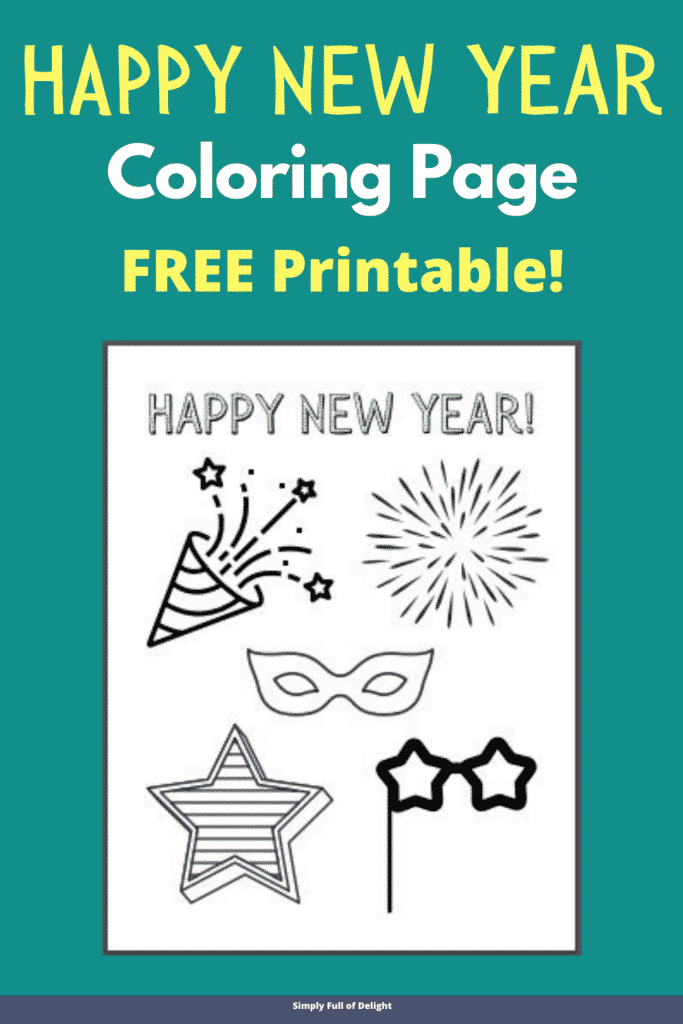 Happy New Year Coloring Page - free printable
