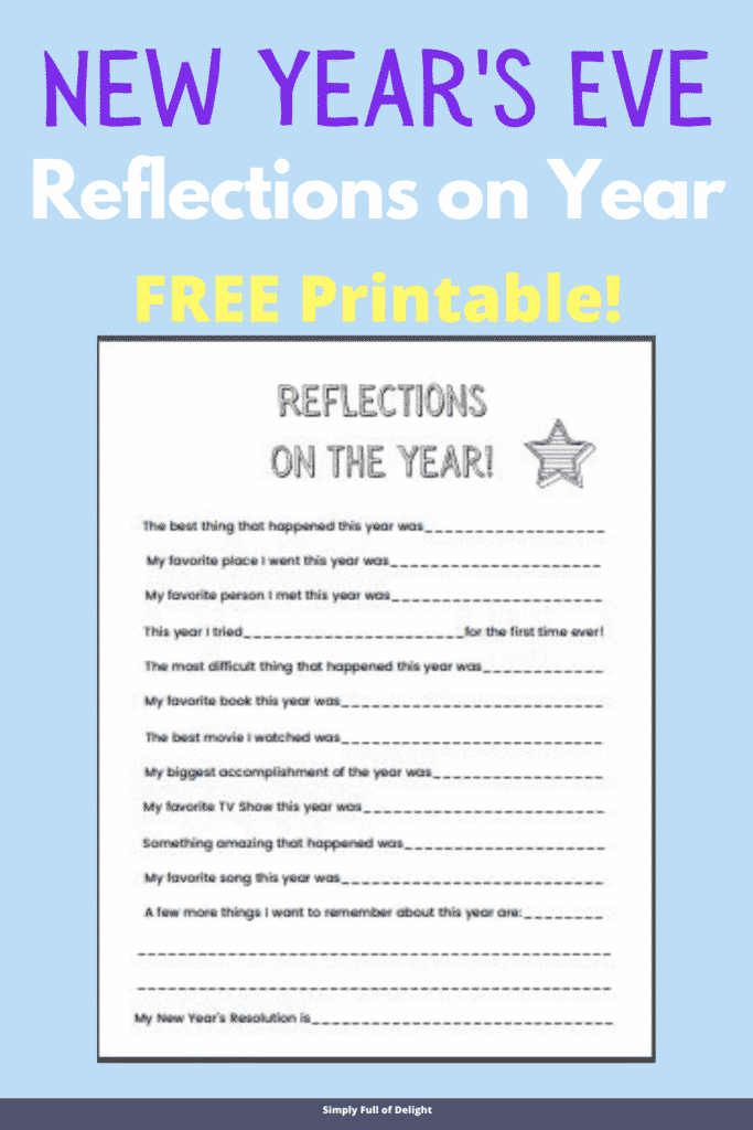 New Year's Eve Reflections on the Year Printable (free!)
