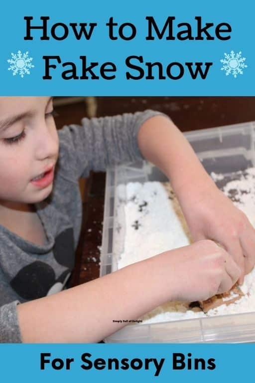 How to make fake snow for sensory bins