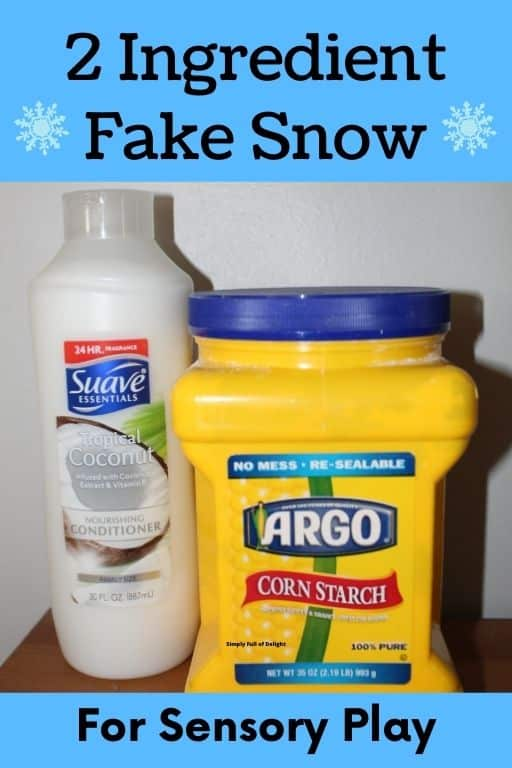 2 Ingredient Fake Snow for sensory play using conditioner and cornstarch