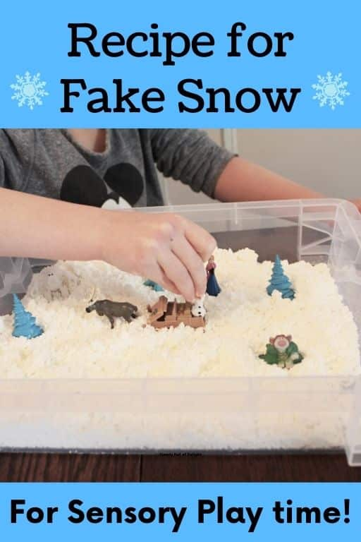 Recipe for fake snow for sensory play time!
