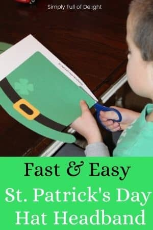 Fast and Easy St. Patrick's Day Hat Headband - pictured child cutting