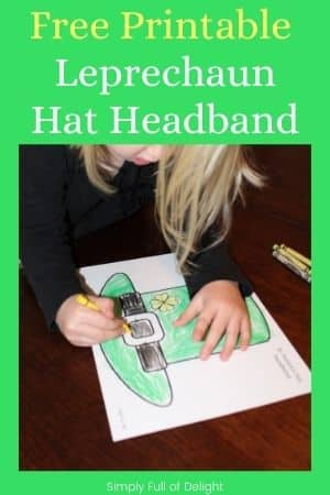 free printable Leprechaun hat Headband - pictured - child coloring