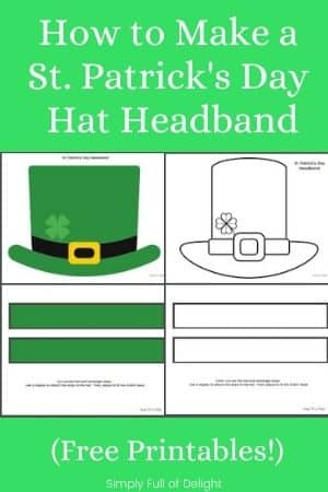 How to make a St. Patrick's Day Hat Headband (Free Printable) - 2 versions featured - full color and black and white