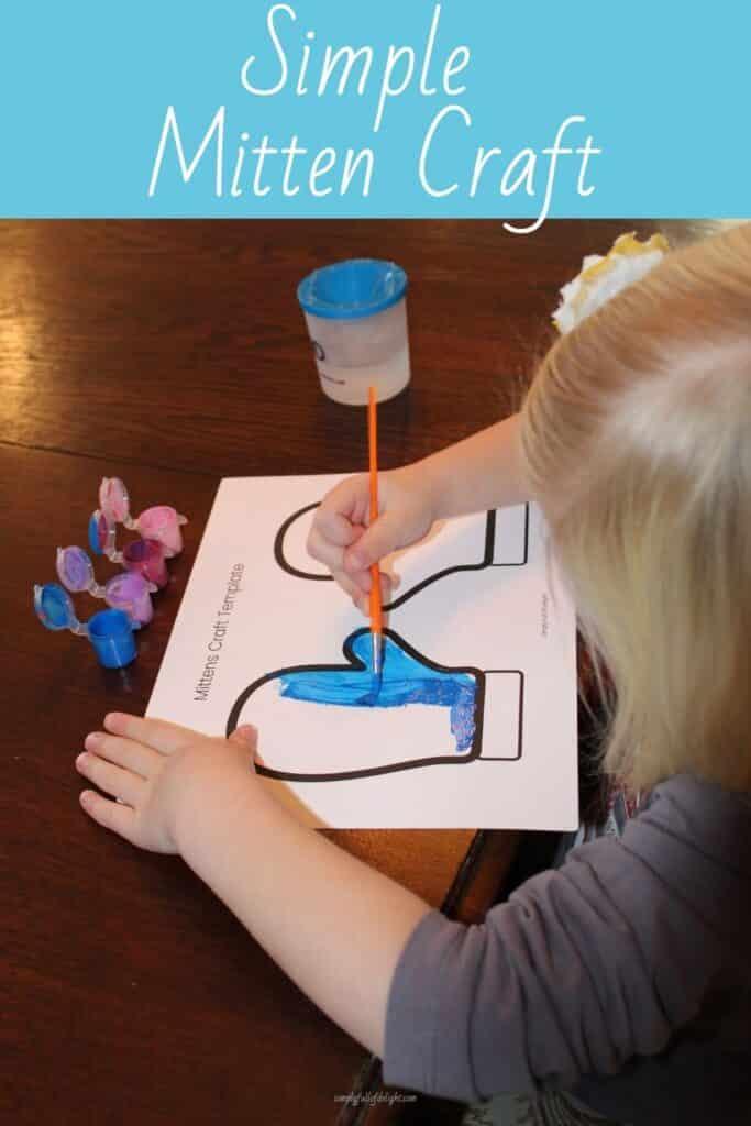 Painting the Mitten Preschool Craft (Free mitten template)