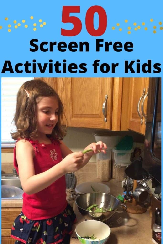 50 Screen Free activities for kids - cooking pictured