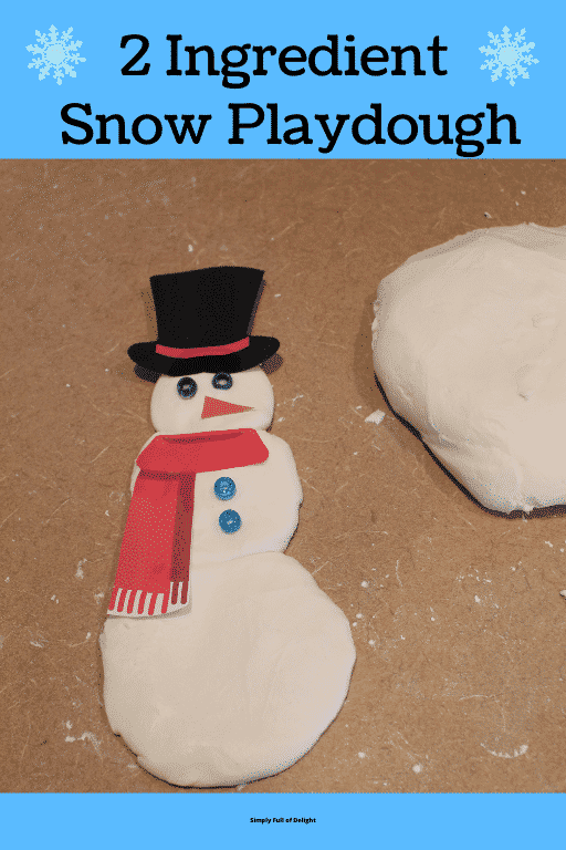 2 Ingredient Snow Playdough (playdough snowman pictured)