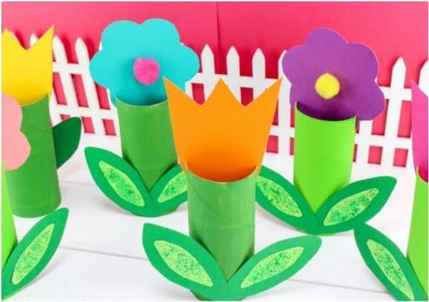 Cardboard Tube Flower craft