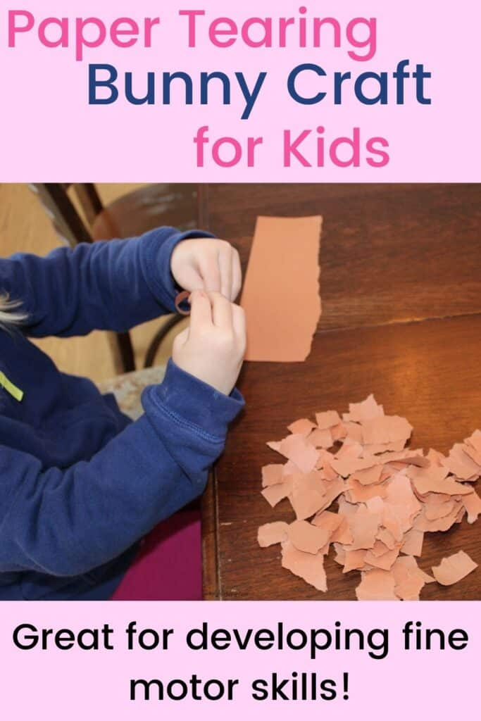 Paper Tearing Bunny Craft for Kids - great for developing fine motor skills
