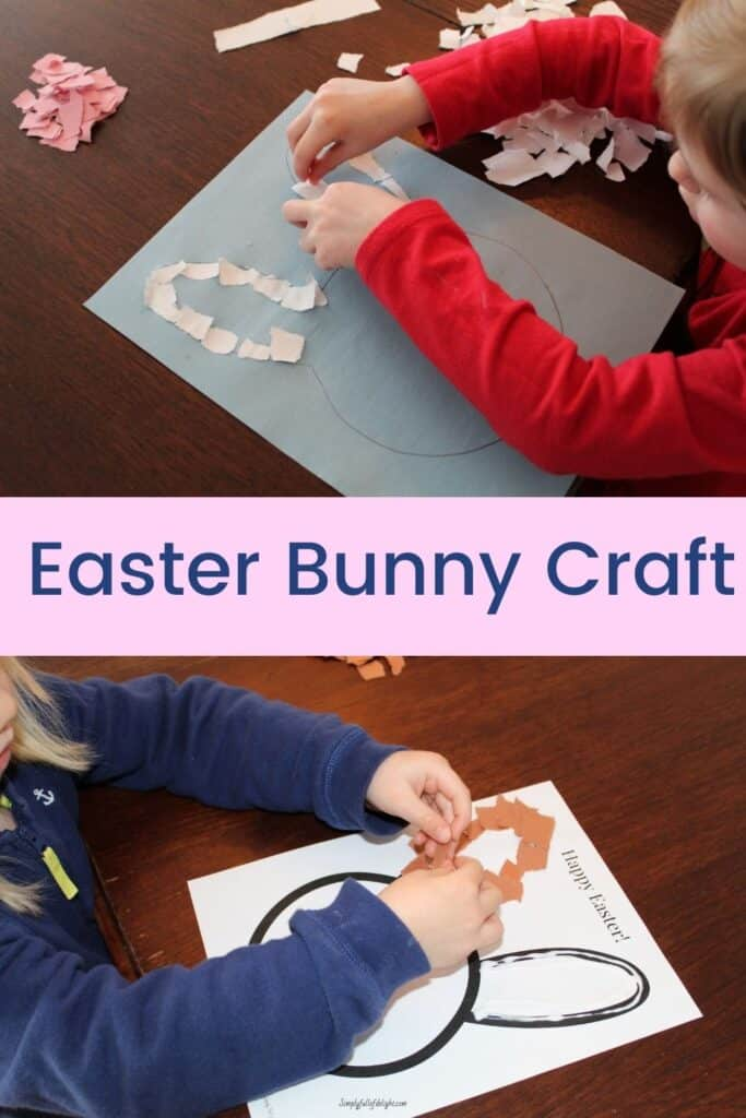 Easter Bunny Craft - pictured:  gluing paper to the outline of the bunny's ears