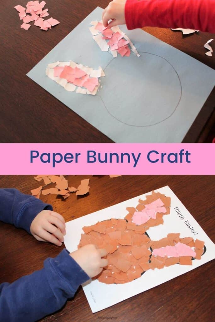 Paper Bunny Craft - Filling in the middle of the ears with pink, and then filling in the head with brown (or white)