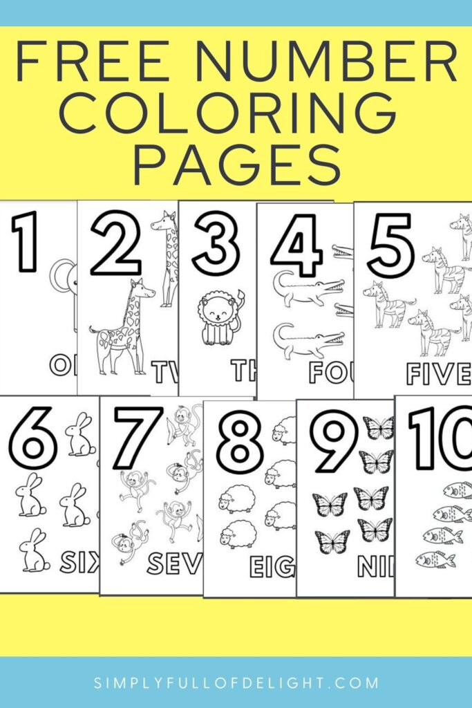 Free Number Coloring Pages from Simply Full of Delight