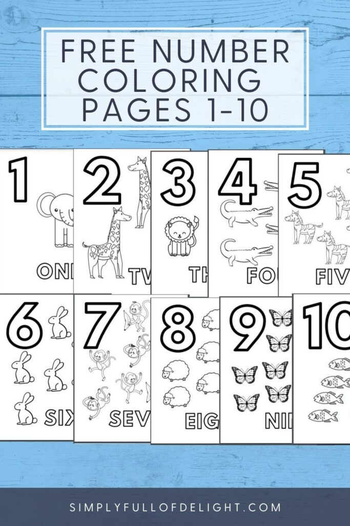 Free Number Coloring Pages 1-10