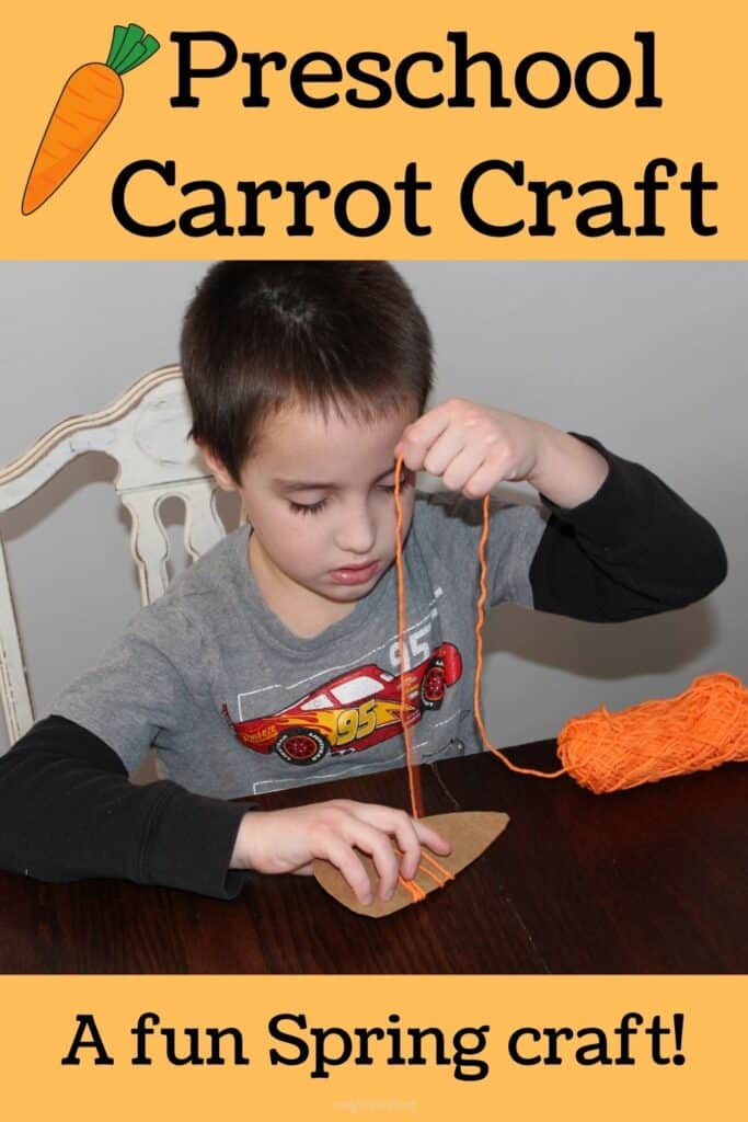 Preschool carrot craft - a fun spring craft!  (pictured: a yarn wrapped carrot craft)