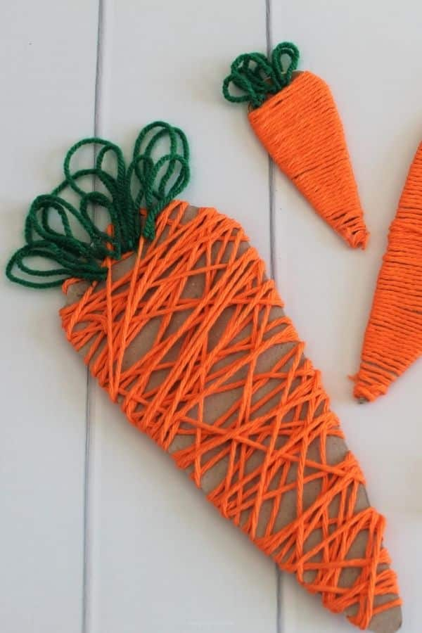 Yarn Wrapped Carrots - Easter Crafts, Carrot crafts