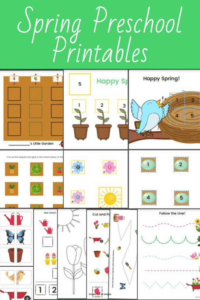 Spring Preschool Learning Pack - 9 Spring Preschool Printables perfect for school, homeschool, and daycare.