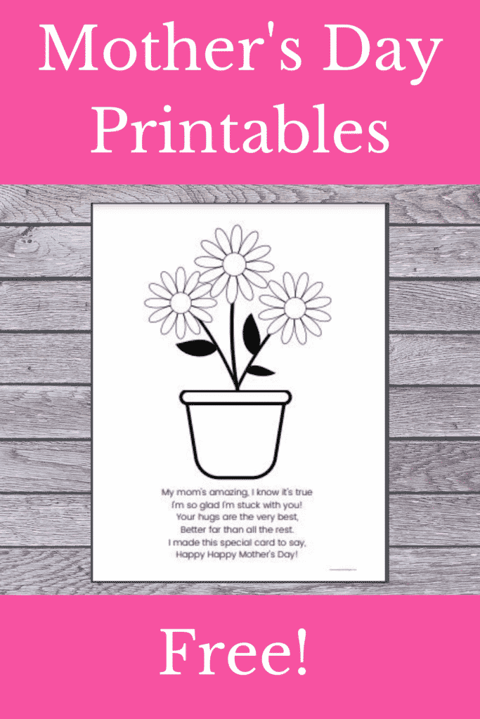 Mother's Day Poem Preschool Printable - free Mother's Day printable card