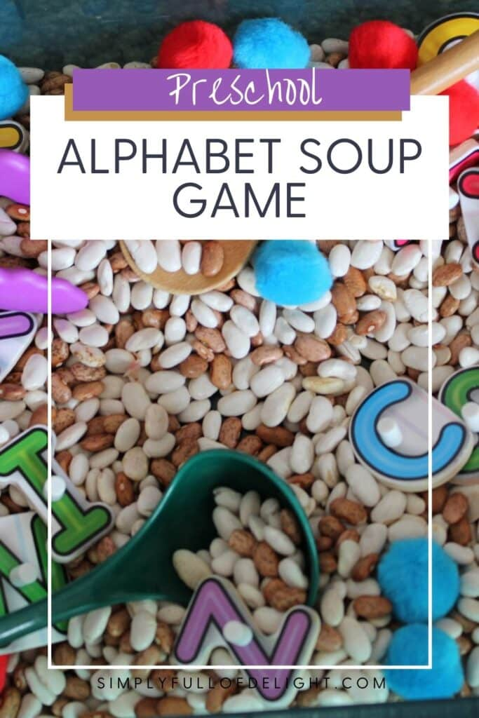 Preschool Alphabet Soup Game - A Preschool ABC Sensory Bin