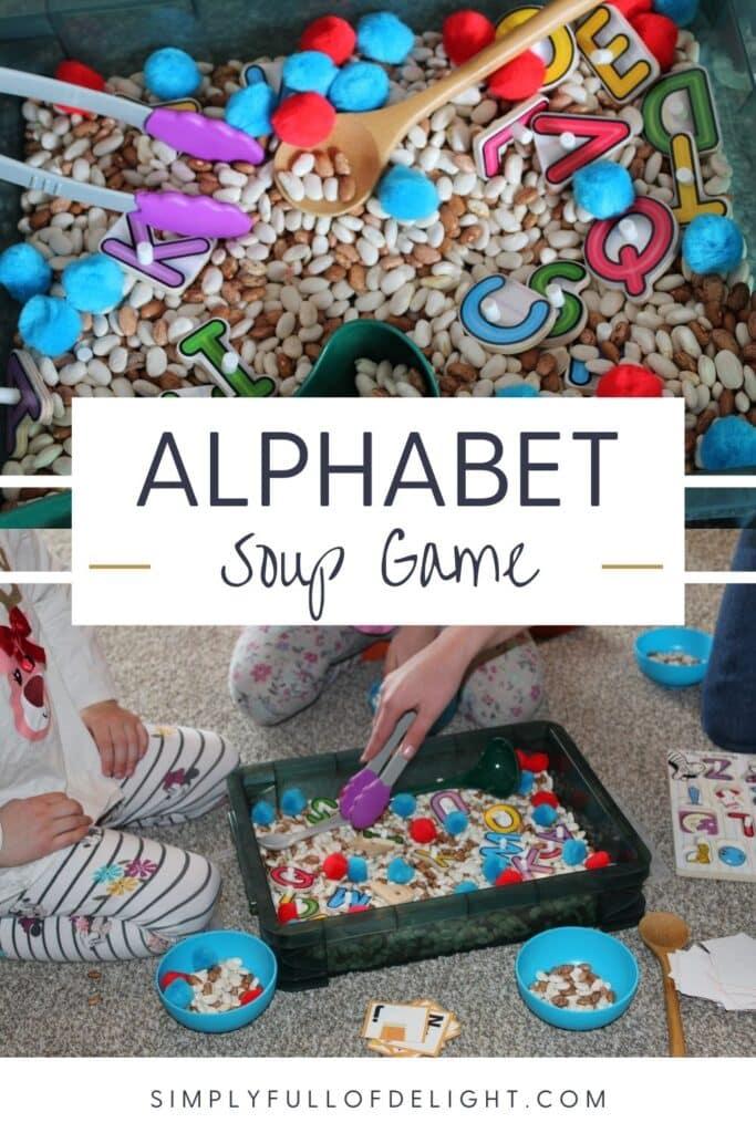 Alphabet Soup Game - A Preschool ABC Sensory Bin